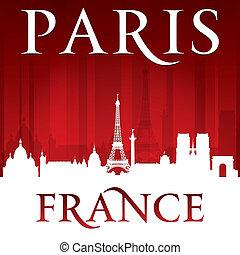 francia, parigi, fondo, orizzonte, città, rosso, silhouette