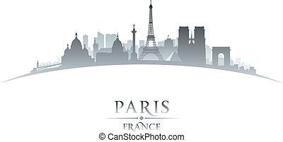 francia, parigi, fondo, orizzonte, città, silhouette, bianco
