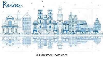 francia, reflections., rennes, costruzioni, orizzonte, città, contorno, blu