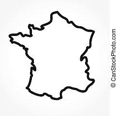 francia, semplificato, vettore, contorno, mappa