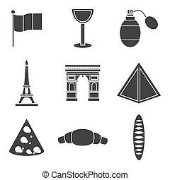 francia, set, icone