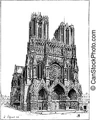 francia, vendemmia, engraving., reims, cattedrale
