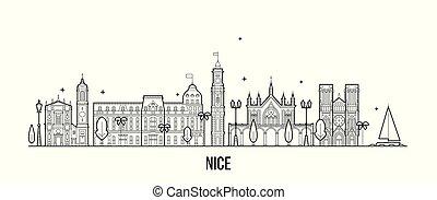 francia, vettore, città costruzioni, orizzonte, bello