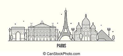 francia, vettore, costruzioni, orizzonte, città, parigi