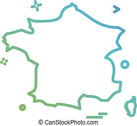francia, vettore, disegno, icona