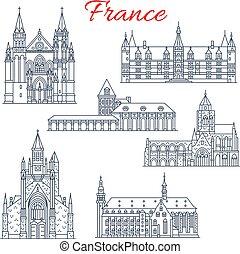 francia, vettore, guerande, nievre, icone, architettura