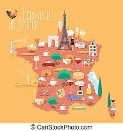 francia, vettore, isolato, mappa, illustrazione