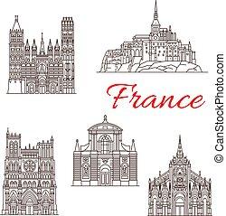 francia, vettore, limiti, costruzioni, icone, viaggiare