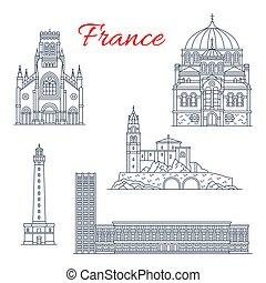 francia, vettore, limiti, icone, viaggiare