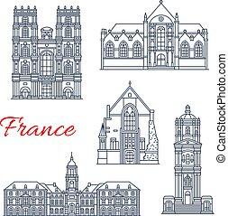 francia, vettore, limiti, rennes, icone, architettura