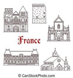 francia, vettore, linea, bretagna, icone, architettura