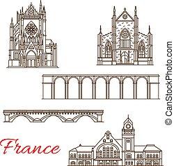 francia, vettore, linea, limiti, icone, architettura