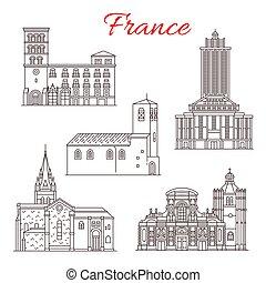 francia, vettore, linea, limiti, icone, viaggiare, arte