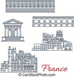 francia, vettore, narbonne, nimes, architettura