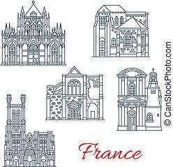 francia, vettore, provenza, facciate, limiti, icone