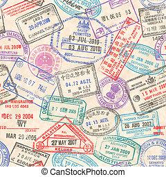francobolli, passaporto, seamless, struttura