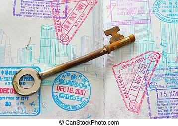 francobolli, pieno, passaporto, chiave