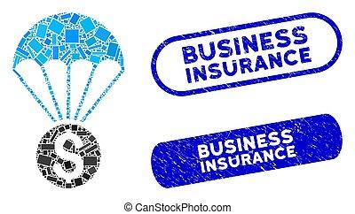 francobolli, rettangolo, collage, assicurazione, finanziario, paracadute, textured, affari