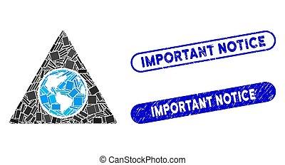 francobolli, rettangolo, collage, avviso, textured, terra, triangolo, importante