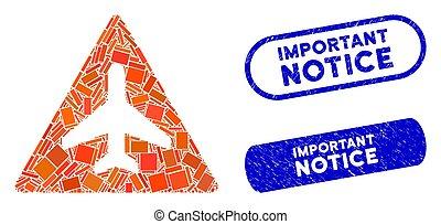 francobolli, rettangolo, collage, pericolo, aereo, avviso, textured, importante