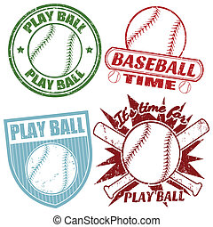 francobolli, set, baseball
