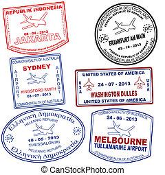 francobolli, set, grunge, passaporto