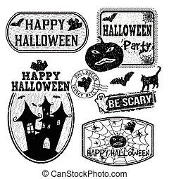 francobolli, set, halloween