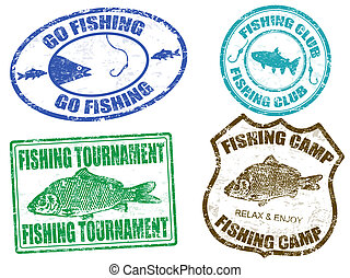 francobolli, set, pesca