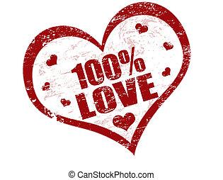 francobollo, 100%, amore