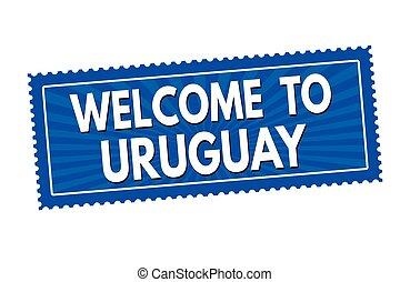 francobollo, adesivo, benvenuto, o, uruguay