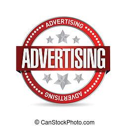 francobollo, advertising., parola, illustrazione