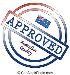 francobollo, australiano, qualità, approvato