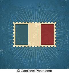 francobollo, bandiera, retro, francia