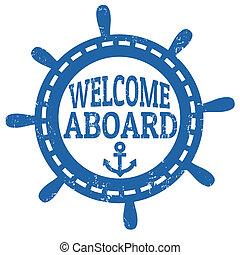 francobollo, benvenuto, bordo