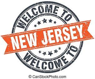 francobollo, benvenuto, jersey, arancia, nuovo, rotondo, nastro