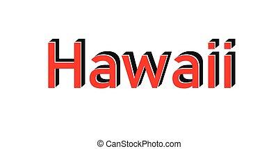 francobollo, bianco rosso, hawai, testo