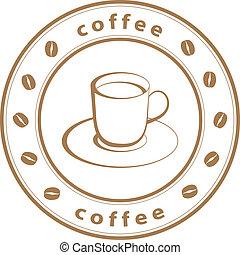 francobollo, caffè, vettore, tazza