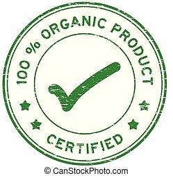 francobollo, certificato, prodotto, organico, percento, grunge, 100, verde, sigillo, gomma, rotondo
