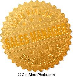 francobollo, direttore, distintivo, vendite, oro