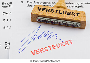 francobollo, document:, legno, tassa