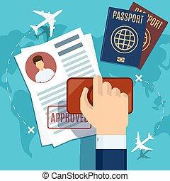 francobollo, domanda, visto, passaporto, stamping.