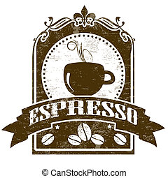 francobollo, espresso, grunge
