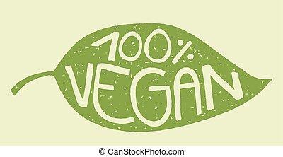 francobollo, foglia, vegan