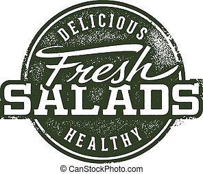 francobollo, fresco, insalate, menu