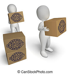 francobollo, globale, spedizione marittima, scatole, esportazione, distribuzione, mostra