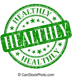 francobollo, grunge, verde, rotondo, healthly