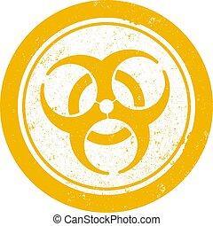 francobollo, grungy, gomma, biohazard, arancia, rotondo, simbolo
