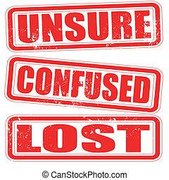 francobollo, incerto, confuso, perso