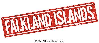 francobollo, isole, falkland, quadrato, rosso