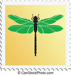 francobollo, libellula